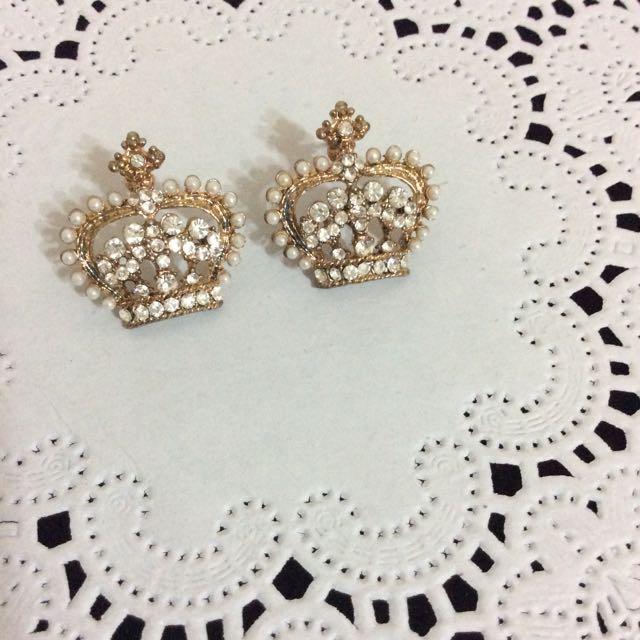 珍珠皇冠耳環