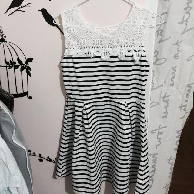 氣質條紋 蕾絲裙