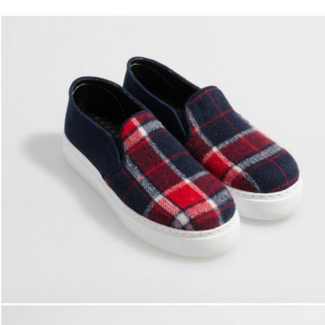 富發牌 格紋厚底懶人鞋