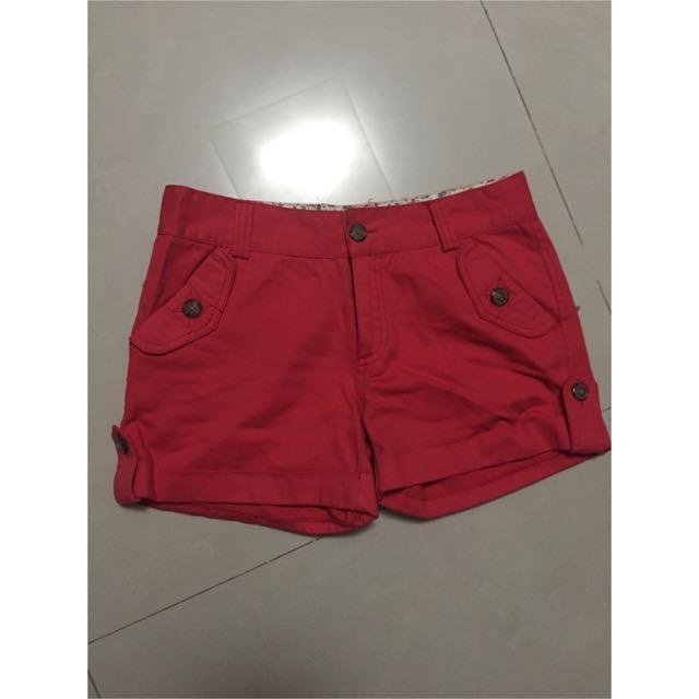 紅色短褲 M