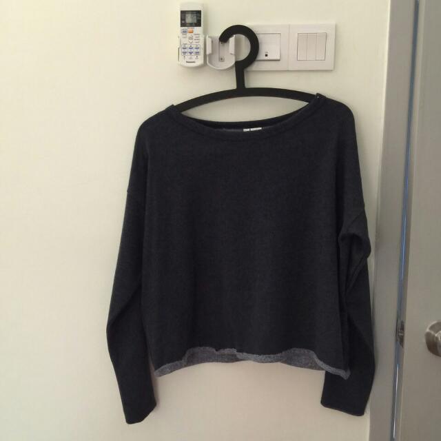 H&M Dark Grey Cropped Sweater