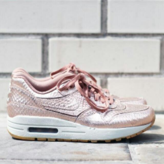 1609121ebab Nike Air Max 1 Rose Gold Metallic Cut Out Trainers