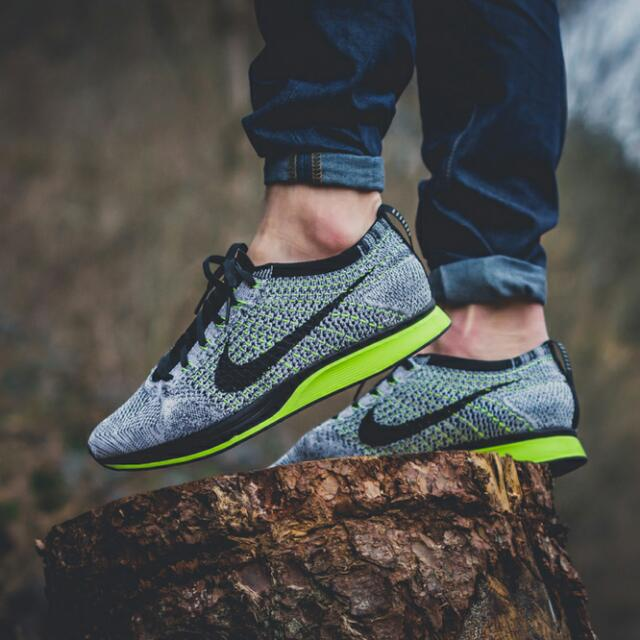 separation shoes 21833 176a5 Nike Flyknit Racer Oreo Volt, Sports on Carousell