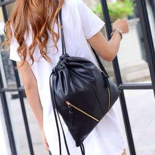 Leather Zipper Drawstring Bag
