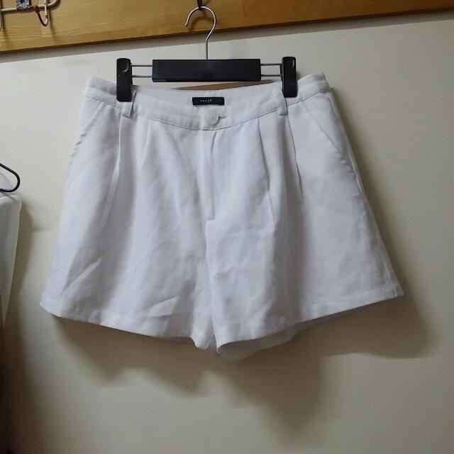 🎁限時特價100元🎀Pazzo 單釦知性俐落西裝打摺短褲白色L