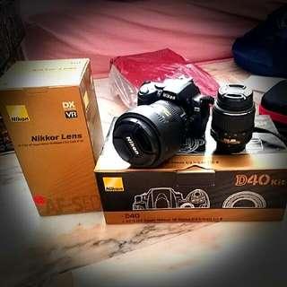 Nikon D40 Kit With 18-55mm F/3.5-5.6G. Selling With Nikkor Lens AF-S DX VR 18-200mm F/3.5-5.6G