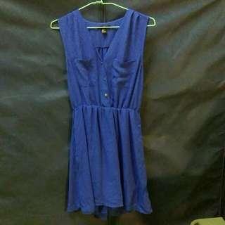 (免運)全新 藍色v領雪紡長洋裝