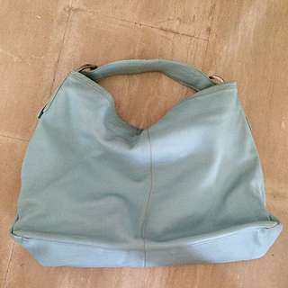 Sky Blue Leather Tote