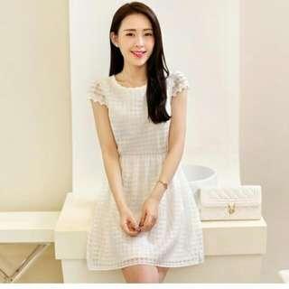 🌸韓版優雅女裝修身連衣裙(單色白色)