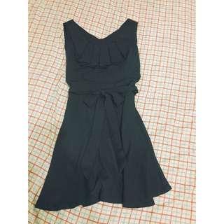 藍色綁帶氣質洋裝