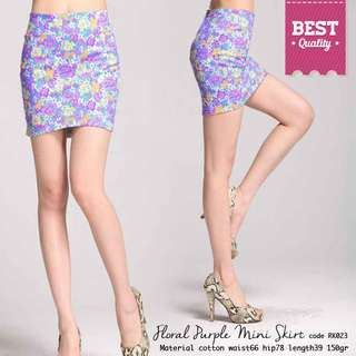Purple Floral Skirt Premium Quality Import Rok Sepan Wanita RK023