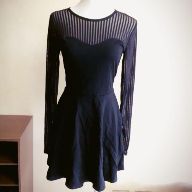 直條紋黑色洋裝
