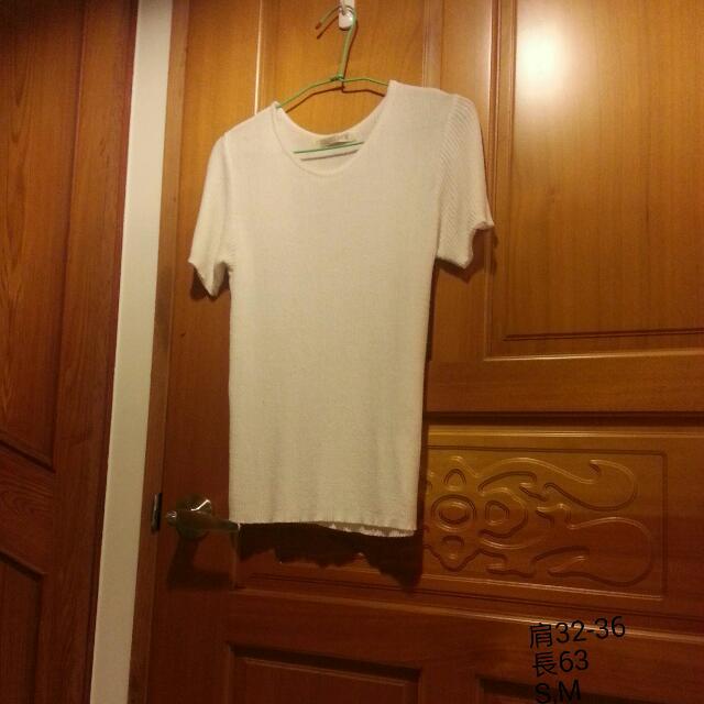 專櫃品牌。巧錦  圓領白針織衫
