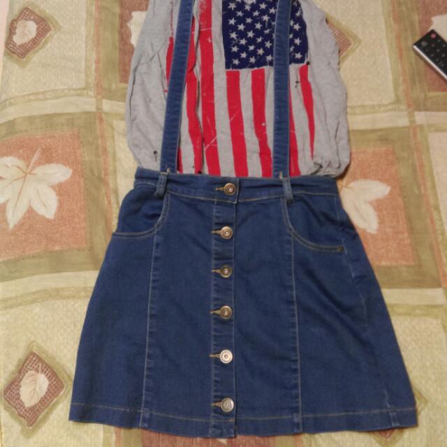 日牌可 ❤ 牛仔藍前排扣吊帶可拆短裙