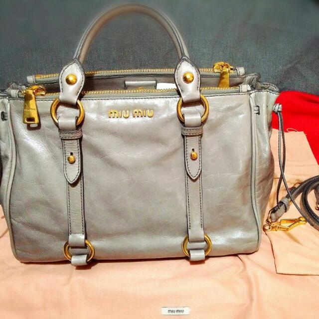fe0856e0b3b8 REDUCED Miu miu Vitello Shine Shopping Bag