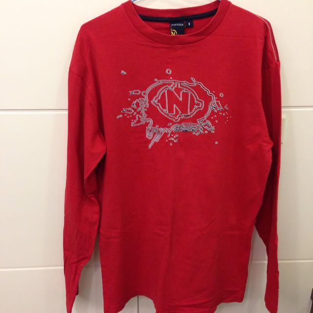Nautica 正版紅色 長tshirt S號