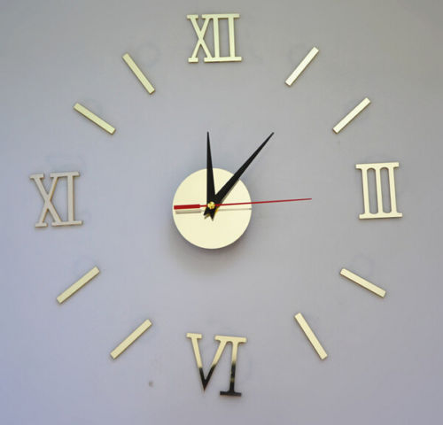 (PO) 3D DIY Roman numbers Mirror Living Room Home Interior Deco Wall Clock