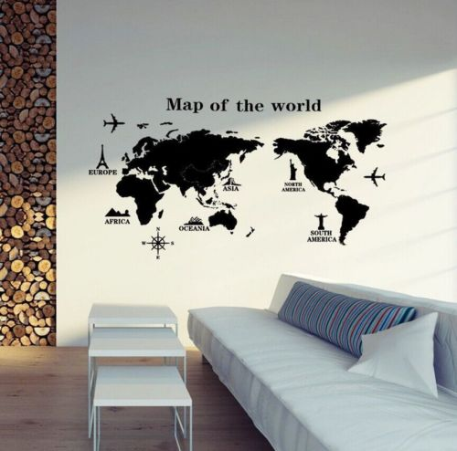 (PO) DIY World Map Room Wall Sticker Removable PVC Vinyl Art Decal Mural Home Deco