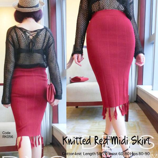 Red Knitted Rok Rajut Wanita Merah RK056