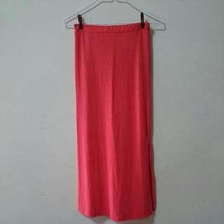 🚚 橘紅色 側邊開岔 貼身長裙