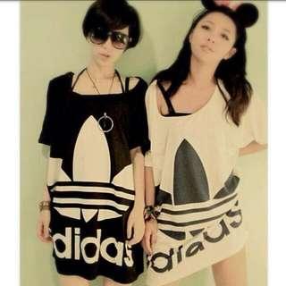 Adidas 白色長板t 💕