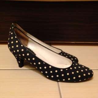 赫本風 黑色點點低跟鞋