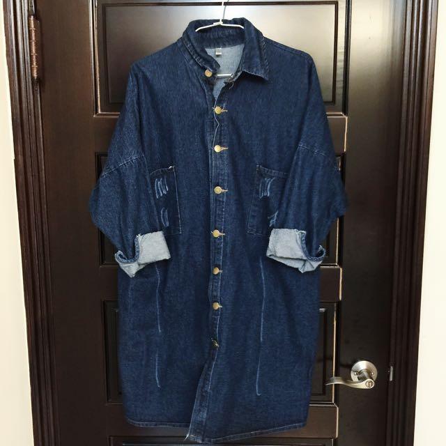 水洗丹寧長版襯衫外套