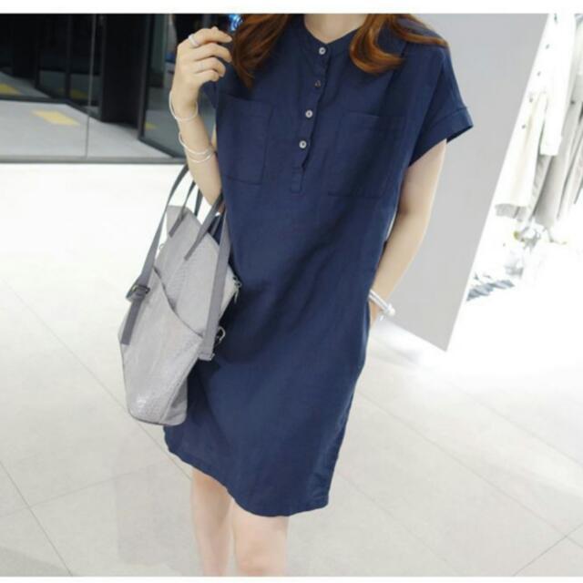 全新!韓版寬鬆棉麻短袖綁帶連身裙