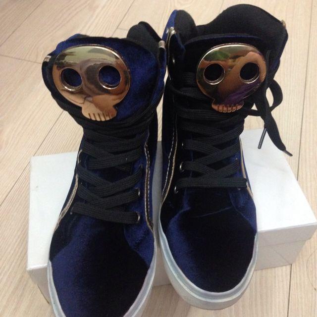 骷髏高筒內增高球鞋