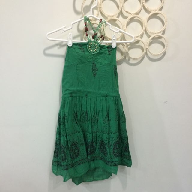 綠色平口度假小洋裝