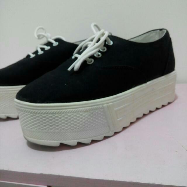 帆布厚底鞋 黑色