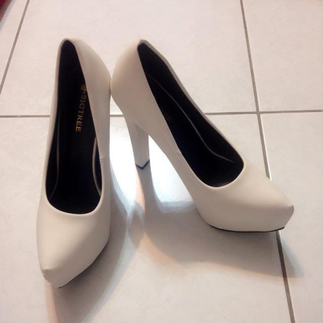 白色高跟鞋 全新 39 白(類似麂皮)