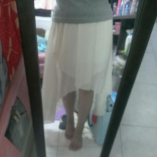 雪紡 前短後長 白色 長裙