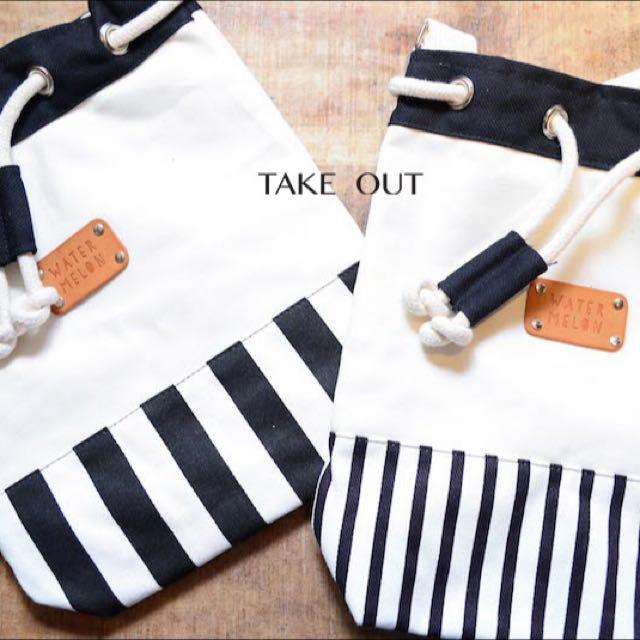 泰國空運 條紋 拼接 束口 水桶包 肩背包 側背包