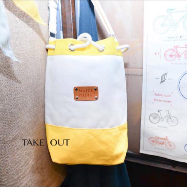泰國帶回 拼接 米 黃 束口 水桶包 肩背包 側背包