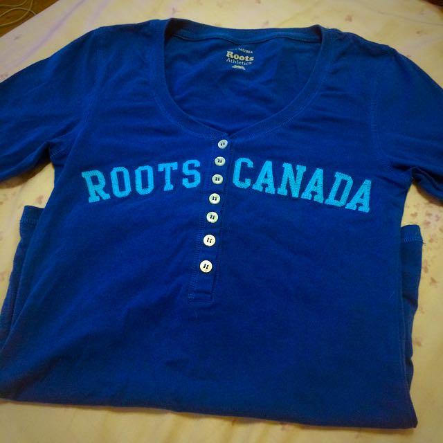 二手 Roots 藍 七分袖 上衣