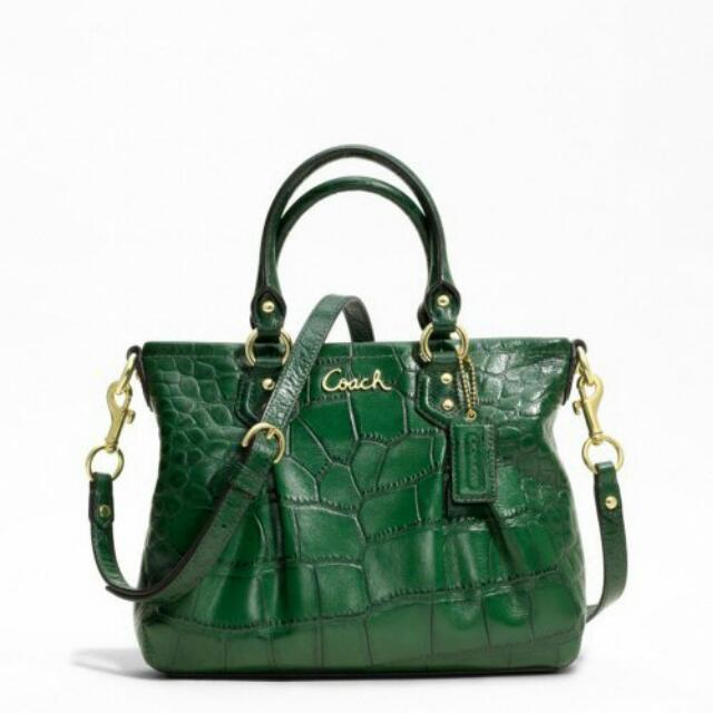 Authentic COACH Ashley Forest Green Croc Embossed Leather Carryall Tote