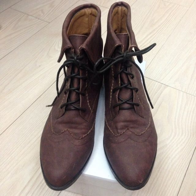 D+af棕色真皮牛津短靴