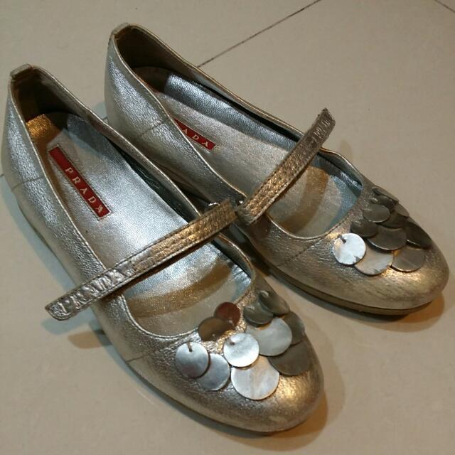 f90a5c46542a Kids Size 32 Prada Silver Shoes
