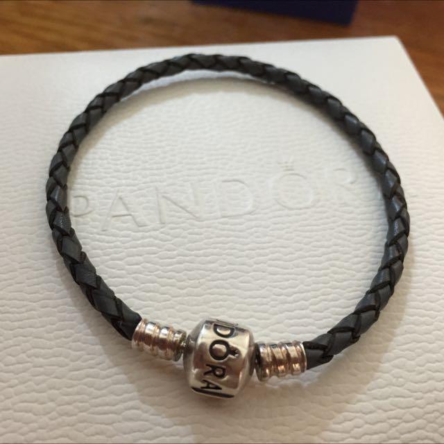 (保留)Pandora 深灰色皮繩 17cm