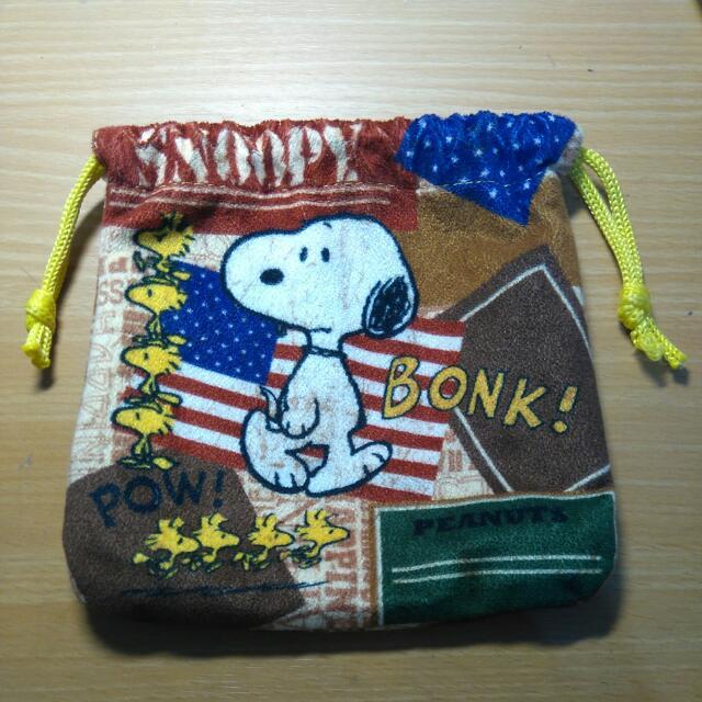Snoopy絨布束口袋