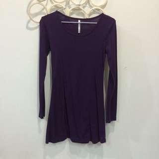紫色長袖傘狀上衣