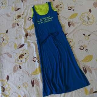 (保留中)免運費/假兩件 藍色連帽長洋裝
