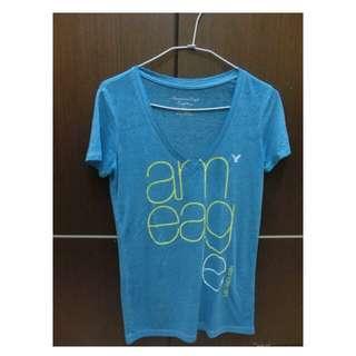 售 American Eagle 二手淺藍v領上衣