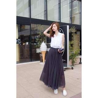法式多層次深灰色長紗裙