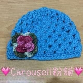 水藍色花花針織帽