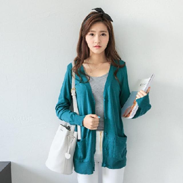 翡翠綠 薄針織外套