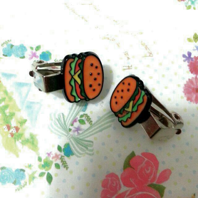 🌹 可愛甜美漢堡夾式耳環
