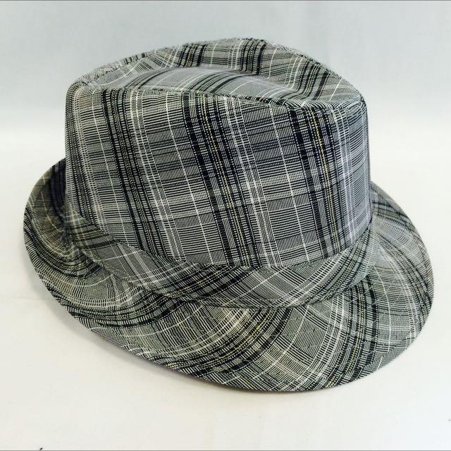 淺灰格紋紳士帽(代客訂製各式專屬帽子)潮流帽子 鴨舌帽 潮帽