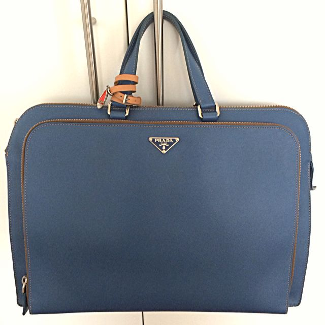 619ec534f3db Prada Cartella Saffiano Calf Leather Briefcase Bag (VR0023 Cobalt ...
